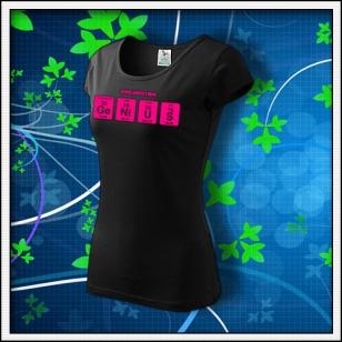 GENIUS - dámske tričko s ružovou neónovou potlačou