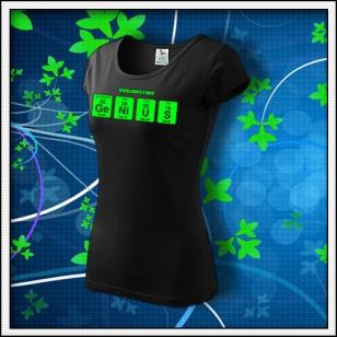 GENIUS - dámske tričko so zelenou neónovou potlačou