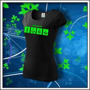 SLANINA - dámske tričko so zelenou neónovou potlačou