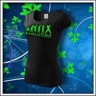 Evolution Zumba - dámske tričko so zelenou neónovou potlačou