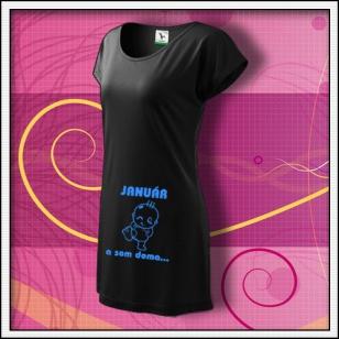 ... a som doma - čierne tričko / šaty s bledomodrou potlačou