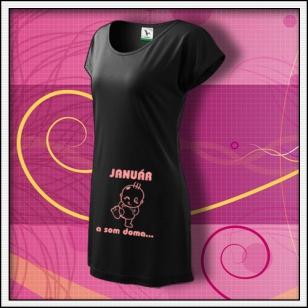 ... a som doma - čierne tričko / šaty s ružovou potlačou
