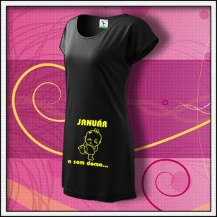 ... a som doma - čierne tričko / šaty so žltou potlačou