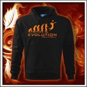 Evolution Volleyball - čierna mikina s oranžovou neónovou potlačou