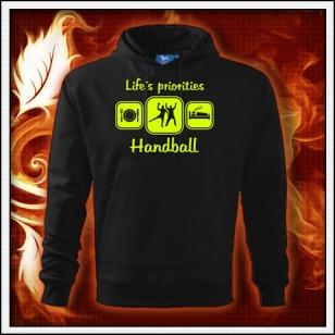 Life´s priorities - Handball - čierna mikina so žltou neónovou potlačou