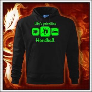 Life´s priorities - Handball - čierna mikina so zelenou neónovou potlačou