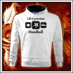 Life´s priorities - Handball - biela mikina