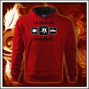 Life´s priorities - Handball - červená mikina