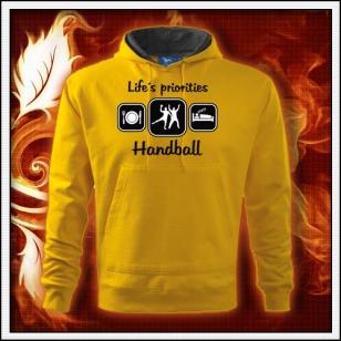 Life´s priorities - Handball - žltá mikina