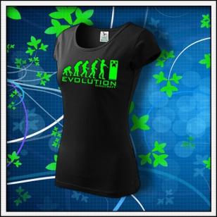 Evolution Minecraft - dámske tričko so zelenou neónovou potlačou