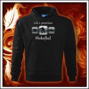 Life´s priorities - Hokejbal - čierna mikina reflexná potlač