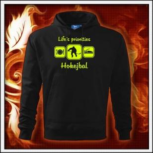 Life´s priorities - Hokejbal - čierna mikina so žltou neónovou potlačou