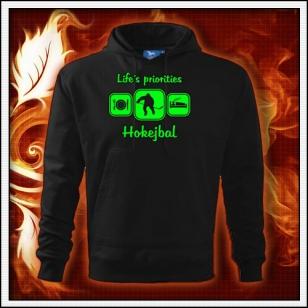 Life´s priorities - Hokejbal - čierna mikina so zelenou neónovou potlačou