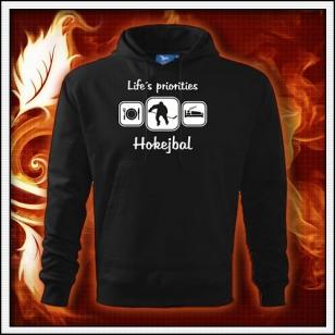 Life´s priorities - Hokejbal - čierna mikina
