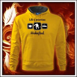 Life´s priorities - Hokejbal - žltá mikina