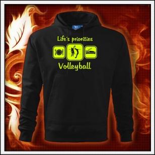Life´s priorities - Volleyball - čierna mikina so žltou neónovou potlačou