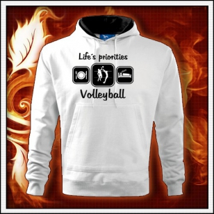 Life´s priorities - Volleyball - biela mikina