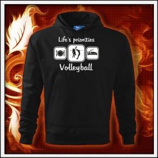 Life´s priorities - Volleyball - čierna mikina