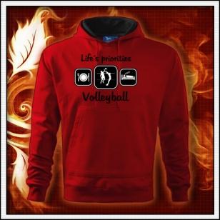 Life´s priorities - Volleyball - červená mikina