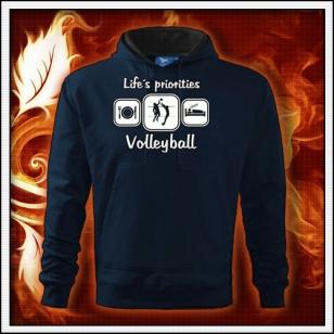 Life´s priorities - Volleyball - tmavomodrá mikina