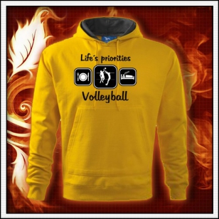 Life´s priorities - Volleyball - žltá mikina