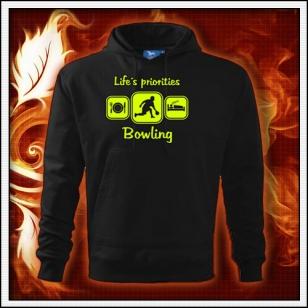 Life´s priorities - Bowling - čierna mikina so žltou neónovou potlačou