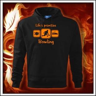 Life´s priorities - Bowling - čierna mikina s oranžovou neónovou potlačou