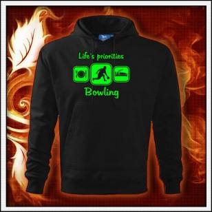 Life´s priorities - Bowling - čierna mikina so zelenou neónovou potlačou