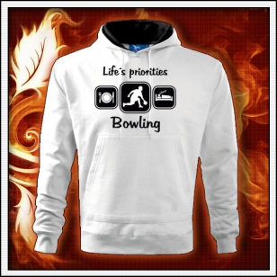 Life´s priorities - Bowling - biela mikina