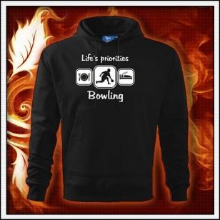 Life´s priorities - Bowling - čierna mikina