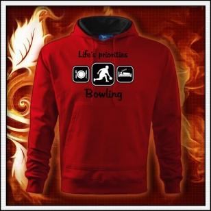 Life´s priorities - Bowling - červená mikina