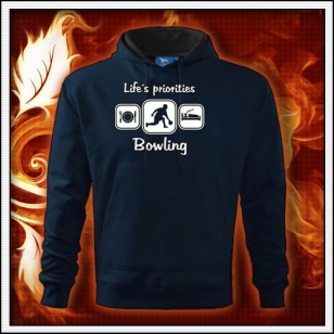 Life´s priorities - Bowling - tmavomodrá mikina