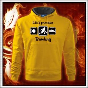 Life´s priorities - Bowling - žltá mikina