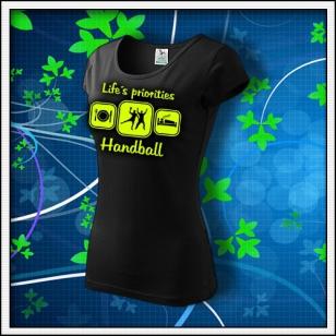 Life´s priorities - Handball - dámske tričko so žltou neónovou potlačou