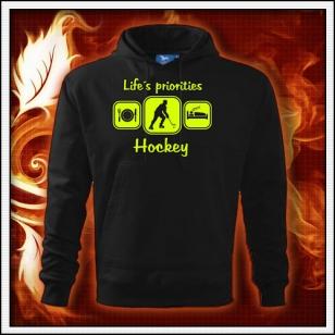 Life´s priorities - Hockey - čierna mikina so žltou neónovou potlačou