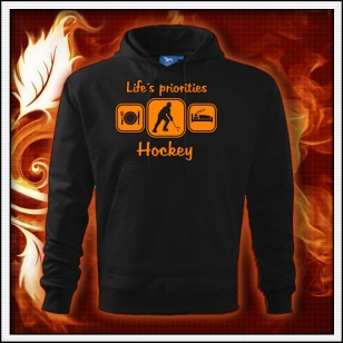 Life´s priorities - Hockey - čierna mikina s oranžovou neónovou potlačou