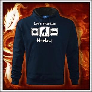 Life´s priorities - Hockey - tmavomodrá mikina