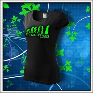 Evolution Batman - dámske tričko so zelenou neónovou potlačou