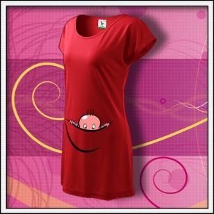 Vykúkajúce dieťa - červené tričko / šaty