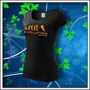Evolution Skiing - dámske tričko s oranžovou neónovou potlačou