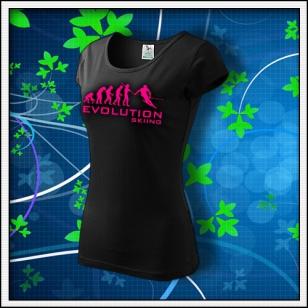 Evolution Skiing - dámske tričko s ružovou neónovou potlačou