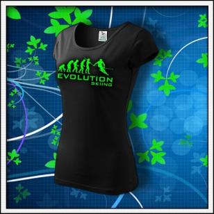 Evolution Skiing - dámske tričko so zelenou neónovou potlačou