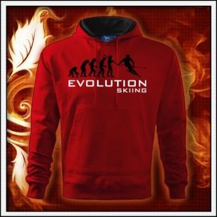 Evolution Skiing - červená pánska mikina