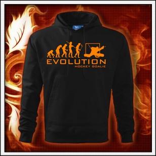 Evolution Hockey Goalie - čierna mikina s oranžovou neónovou potlačou