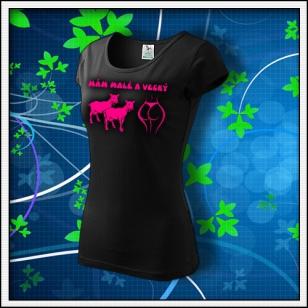 Mám malé kozy a veľký zadok - dámske tričko s ružovou neónovou potlačou