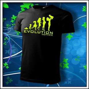 Evolution Mother - unisex tričko so žltou neónovou potlačou
