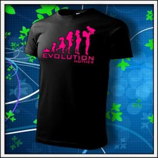 Evolution Mother - unisex tričko s ružovou neónovou potlačou