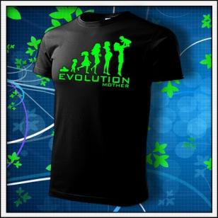 Evolution Mother - unisex tričko so zelenou neónovou potlačou