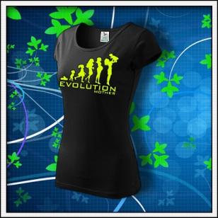 Evolution Mother - dámske tričko so žltou neónovou potlačou