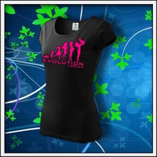 EVolution Mother - dámske tričko s ružovou neónovou potlačou